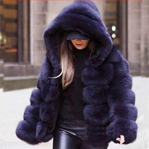 Amazon.com: Inverlee Women Faux Mink Winter Hooded New Faux Fur Jacket Warm Thick Outerwear Jacket: Clothing