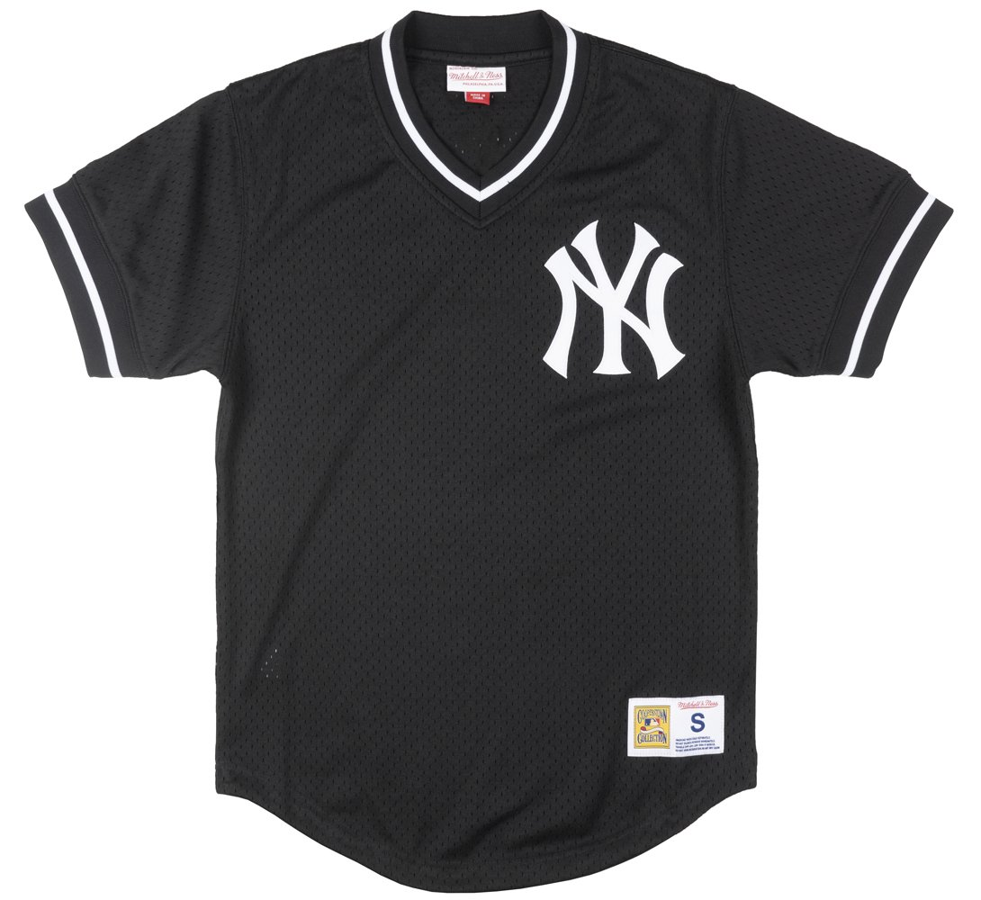 check out 6eb77 b9b0f Mitchell and Ness Yankees Black/White Mesh Vneck Jersey (LA85K9-NYYKCV7)