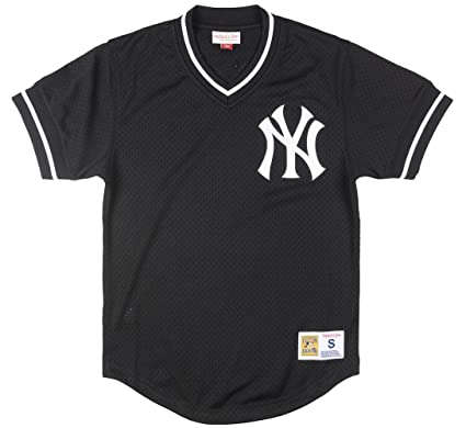 check out f9ea5 6368e Mitchell and Ness Yankees Black/White Mesh Vneck Jersey (LA85K9-NYYKCV7)