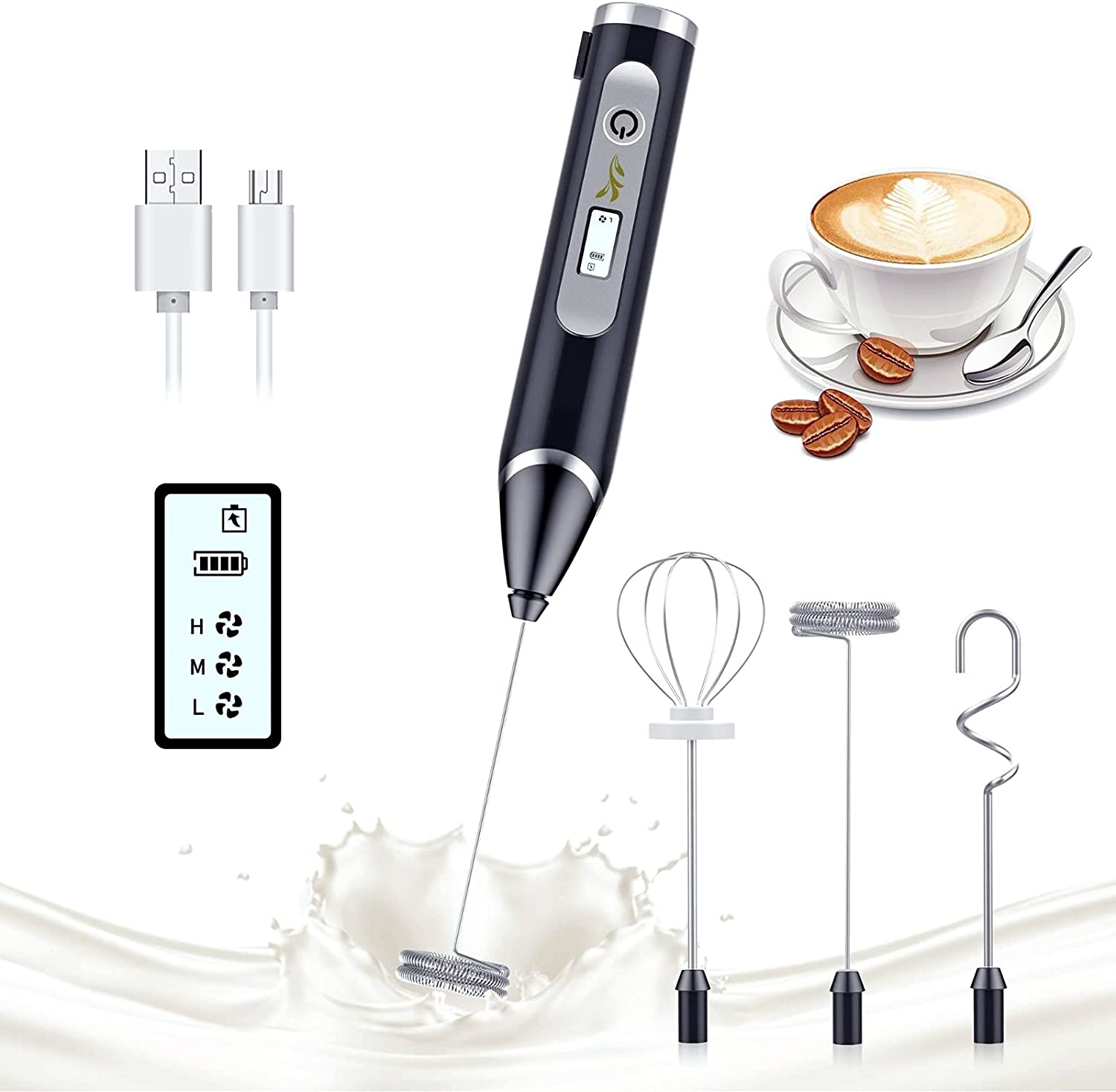 Milk Frother LCD Electric Handheld USB Rechargeable Adjustable 3 Speeds Hand Frother Whisk Mini Blender Drink Mixer for Latte, Bulletproof Coffee, Cappuccino, Hot Chocolate, Frappe, Egg Whisks