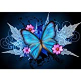 New 5D Diamond Painting Kit Blue Butterfly DIY Crystals Diamond Rhinestone Painting Pasted Paint by Number Kits Cross…
