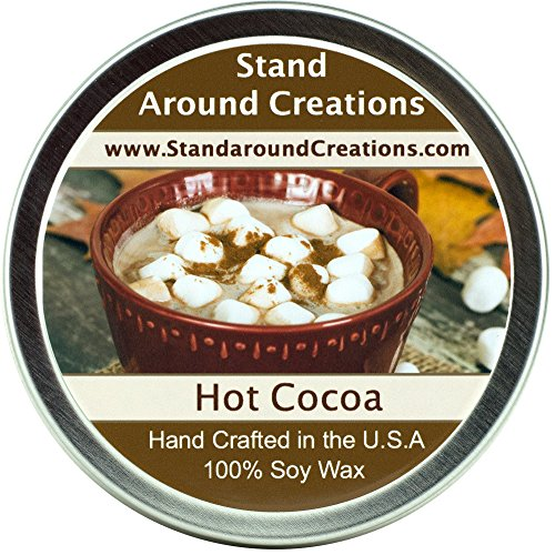 Premium 100% All Natural Soy Wax Aromatherapy Candle - 8oz. Tin: Hot Cocoa - Warm hot chocolate with melted marshmallow topping. Naturally Strong, Highly Scented. by Stand Around Creations