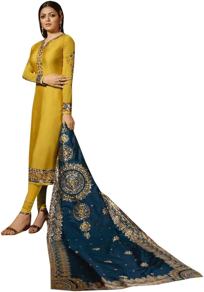 Amazon Com Yellow Indian Pakistani Straight Salwar Kameez Suit Banarasi Jaquard Contrast Dupatta Party Embroidery Women S Dress 7834 Home Improvement Paint the town red in your banarasi silk dupatta paired with a contrasting coloured lehenga to make the colour pop or wear it with a similar toned suit for smaller ceremonies. yellow indian pakistani straight salwar