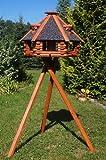 Deko-Shop-Hannusch Nr13s Mangeoire à oiseaux de luxe sur pieds avec toit en crépi Taille XXL 70 x 45 cm