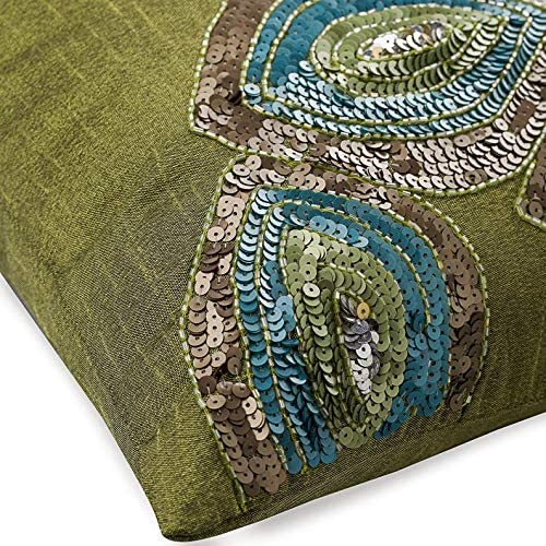 The HomeCentric Decorative Green European Sham Pillow Covers 26×26 inch 65×65 cm , Silk Euro Sham Covers, Abstract, Peacock Sequins Embellished, Art Deco European Pillow Shams – Peacock Abstract