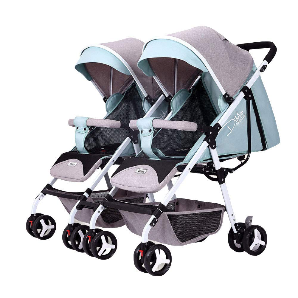 BO LU Double Strollers Double Seats for Twins Foldable Can Sit and Lie with Awning Adjustable Backrest