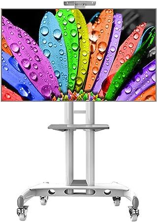 Soporte TV Trole Soporte de exhibición de TV blanco con ruedas y 2 estantes, for pantalla