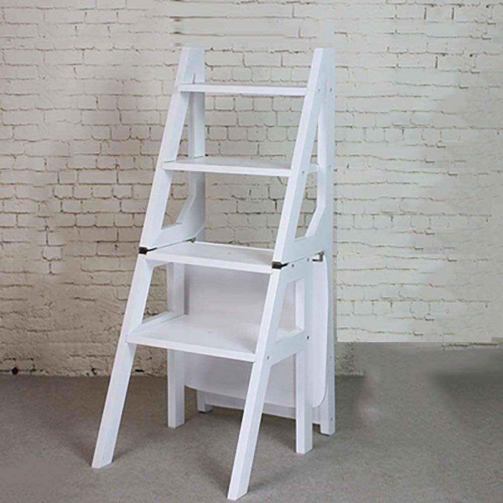 LIULAOHAN Taburete con Escalera Taburete con peldaños de Madera Maciza Escalera Plegable de Dos escalones Cocina Taburete con Escalera de Tres Capas de Doble Uso Duradero (Color : White): Amazon.es: Hogar
