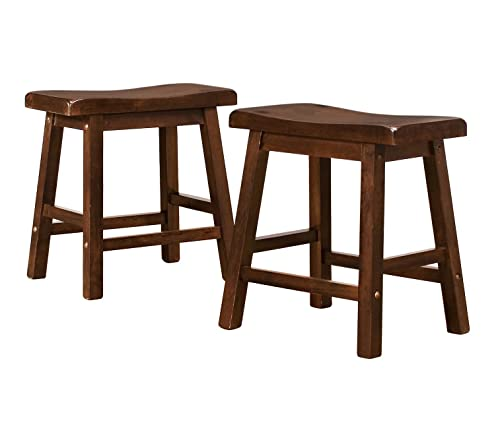 ModHaus Living Set of 2 Dark Wood Country Style Saddle Back Solid Wood Stool – Chair Height – Includes TM Pen