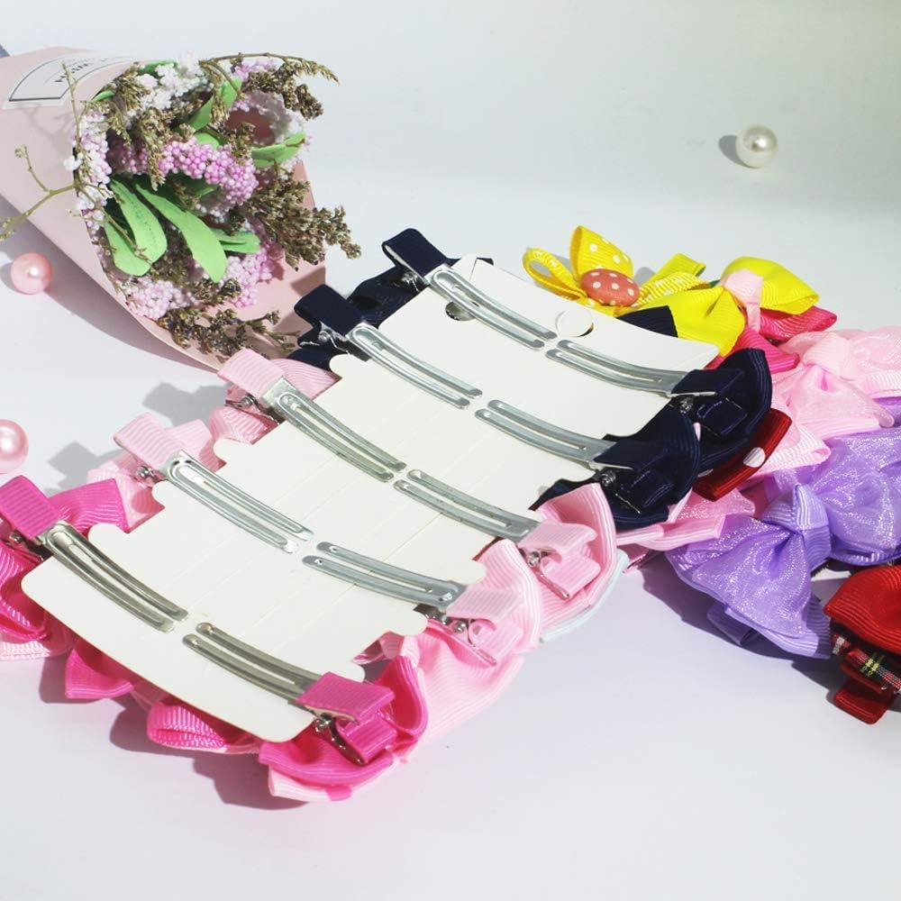 20 Pcs Girl Barrettes Fully Lined Alligator Hair Accessories for Little Girls Toddler Kids Children Bow Hair Clips