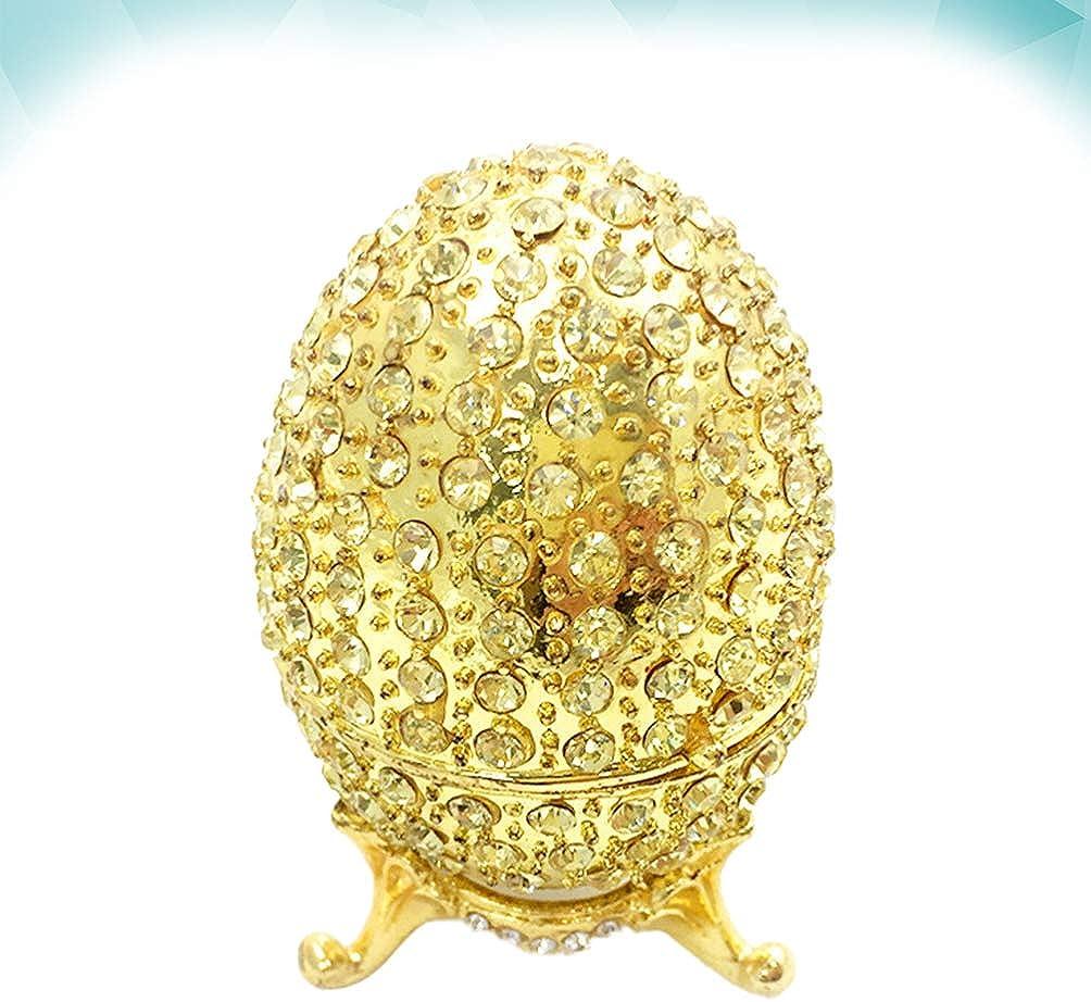 Healifty Pintado a Mano Faberge Huevo Decorativo Bisagras Joyas Caja de Baratija Rhinestone Joyer/ía Almacenamiento Organizador Contenedor