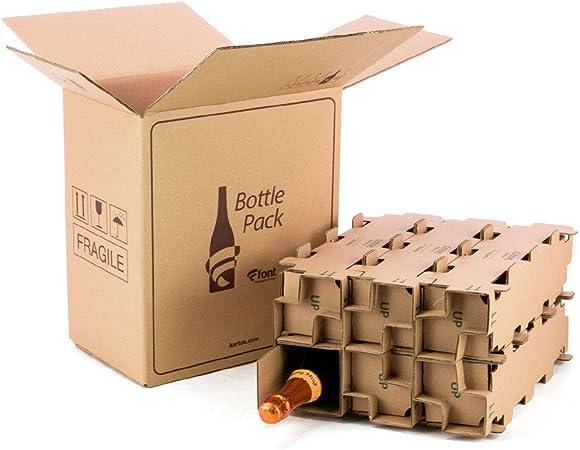 KARTOX | Pack 5 Cajas de cartón para envío Botellas | Capacidad para 6 Botellas | con Caja Interna Alta protección | 100% ecológico | Evita Roturas: Amazon.es: Hogar