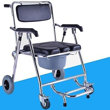 SHKD Silla plegable Old Man Silla con ruedas para silla de tocador y respaldo Silla para silla de baño móvil con frenos , A: Amazon.es: Deportes y aire ...