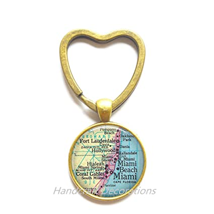 Encantador corazón llavero, Miami mapa llavero, Miami ...