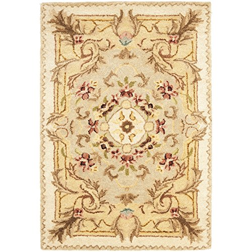 Safavieh Empire Collection EM823A Handmade Traditional European Beige and Light Gold Premium Wool Area Rug (2' x 3')