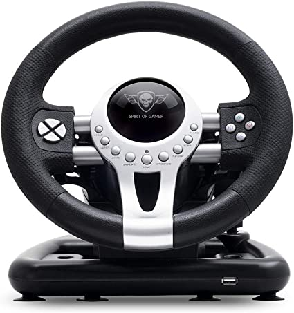 SPIRIT OF GAMER – RACE WHEEL PRO 2 – Volante De Juego Con Pedales, Palanca De Cambios – Rotación Del Volante – Soporte De Montaje - Motor De Vibración Dual - PS4 /