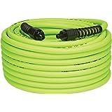 """Flexzilla 空气软管与 ColorConnex 工业 D 型耦合器和插头,0.64 cm x 50 英尺,重型,轻质,混合,灰绿色 3/8"""" (inches) x 100' (feet) HFZ38100YW2"""