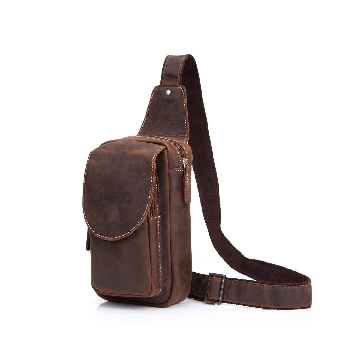 MUMUWU Vintage Leather Chest Bag Shoulder Bag Men's Crazy Horse Leather Messenger Bag Sports Leisure Leather (Color : Brown, Size : M)