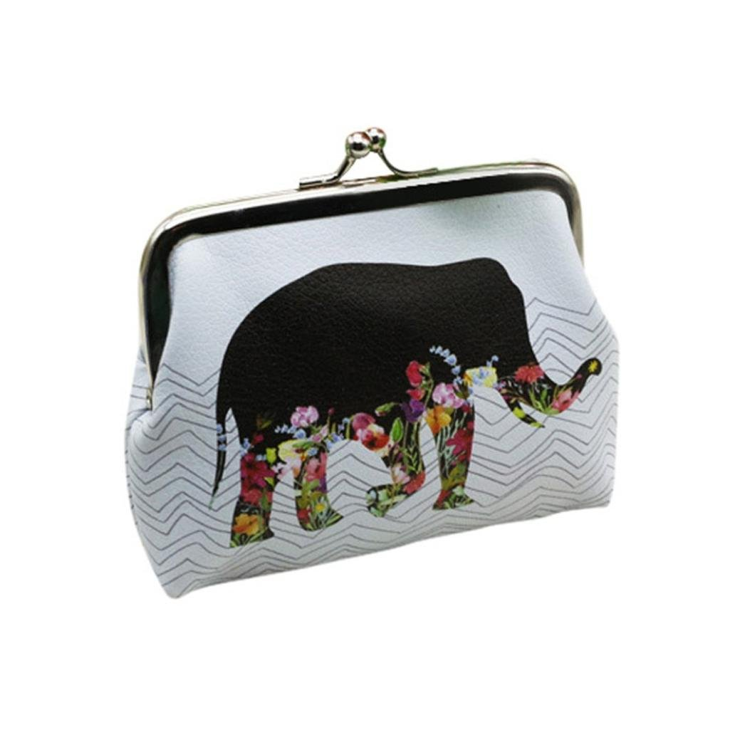 TONSEE Womens Lady Cute Elephant Wallet Card Holder Coin Purse Clutch Handbag (White)