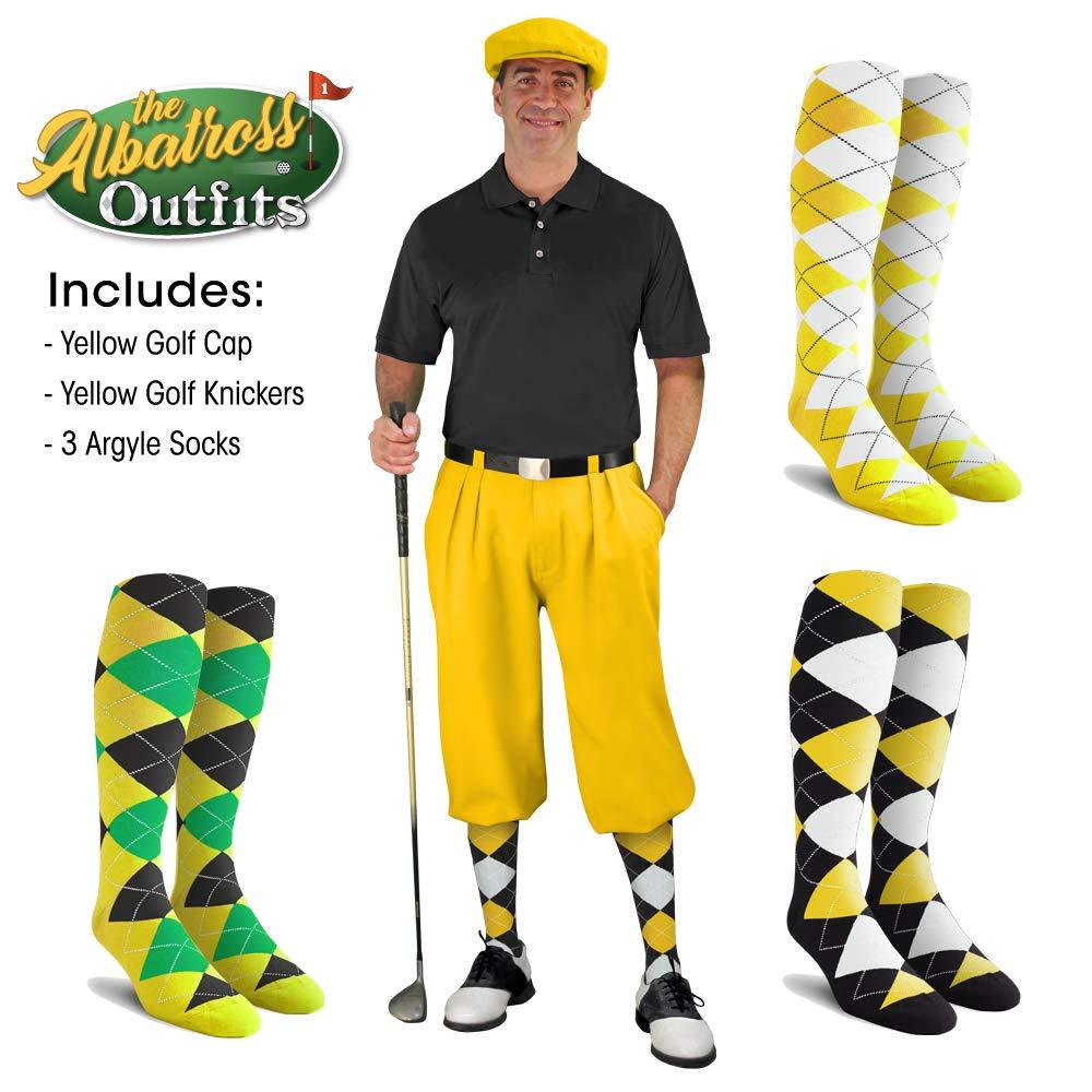 メンズゴルフKnicker衣装 – イエローゴルフKnickers、ゴルフキャップ、3アーガイルソックス イエロー