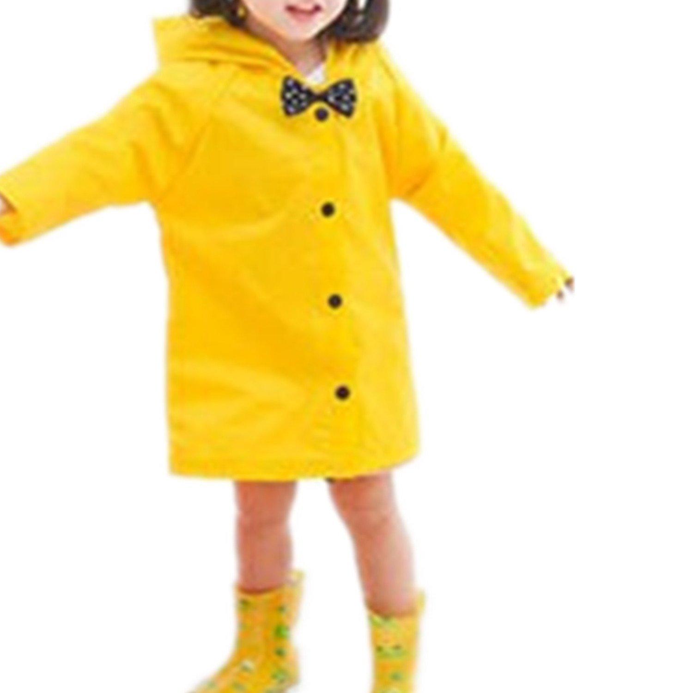 Taiduosheng Age 2-10 Kids Hooded button down Jacket Rain Raincoat With bow Cover Long Rainwear M,Yellow