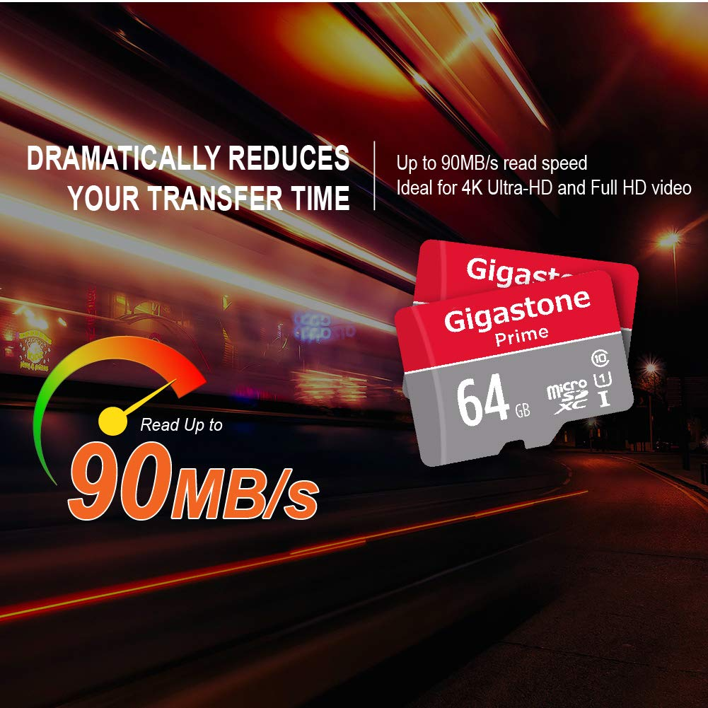 Gigastone Micro SD Card 64GB 2-Pack MicroSD XC U1 C10 with Mini Case and MicroSD to SD Adapter High Speed Memory Card Class 10 UHS-I Full HD Video ...