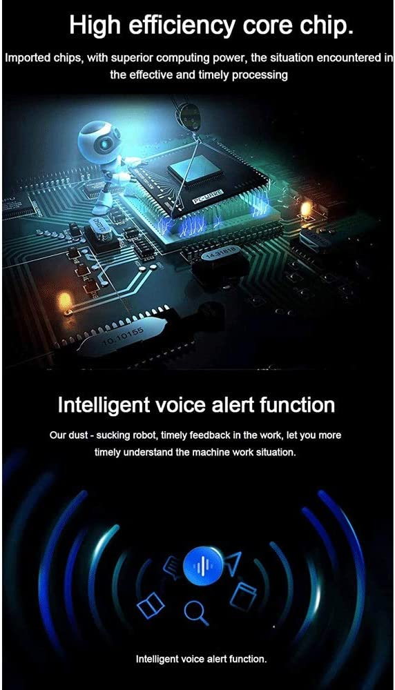 Sdesign Robot Aspirateur Control Assistant, 1200Pa Max Aspiration, WiFi Automatique Rechargeable, Pet Hairs, sols durs et Tapis, Plastique (Color : Navy Blue) Navy Blue
