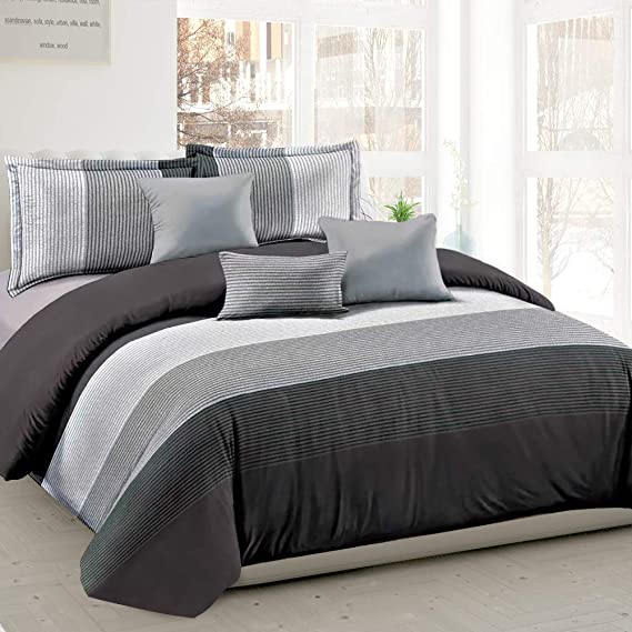 Shatex 5 Pieces Bedding Comforter SetsTwin Set 100% Microfiber Polyester Stitching Gray Stripe Pattern Bed in a Bag