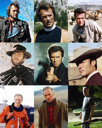 Clint Eastwood 24x30 Poster Collage 9 great Eastwood movie scenes on one poster! Josey Wales Enforcer Unforgiven Space Cowboys Gran Torino Fistful of Dollars
