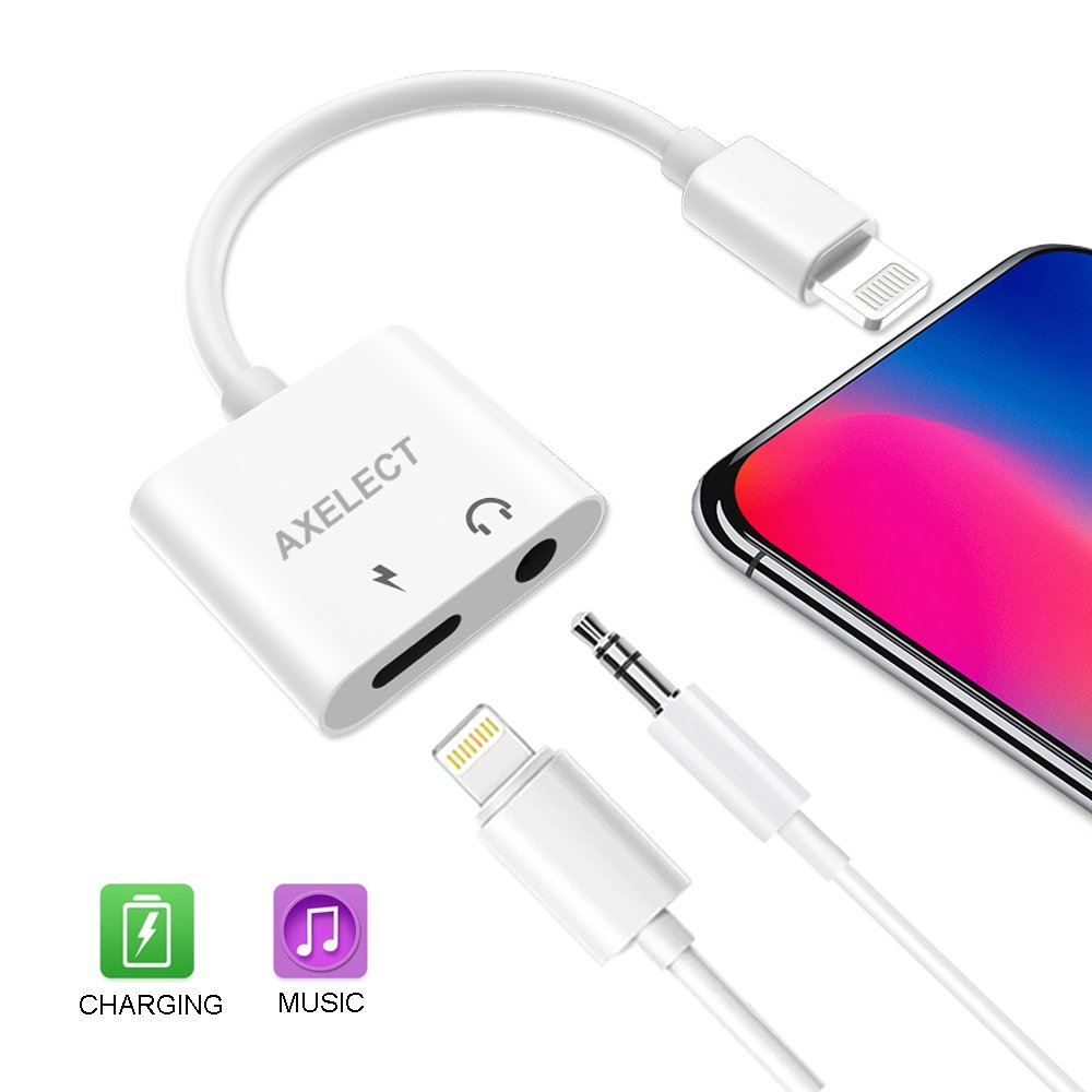 Lightning to 3.5mm Headphone Jack Adapter, AXELECT iPhone Lighting Adapter and Splitter 2 in 1 Lightning Cable to Audio Jack and Charger Adapter for iPhone X/8/8 Plus/X/7/7 Plus
