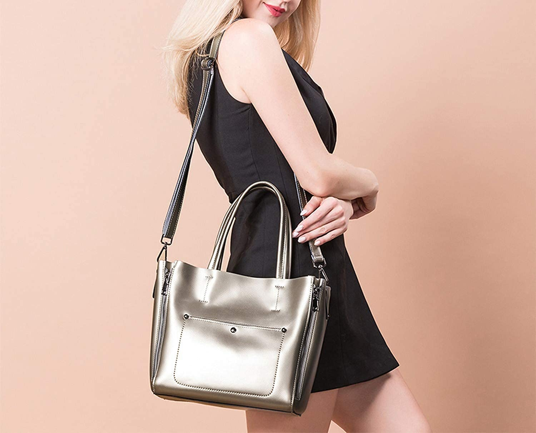 Cherryi Shoulder bag tote women split leather ladies handbags,Pearl pink 30cm-Max Length-50cm