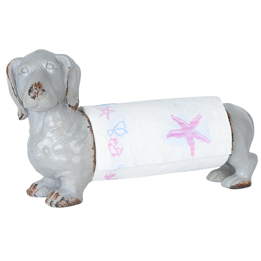 NIKKY HOME Shabby Chic Metal and Resin Animal Paper Towel Holder, Dachshund Dog, Grey