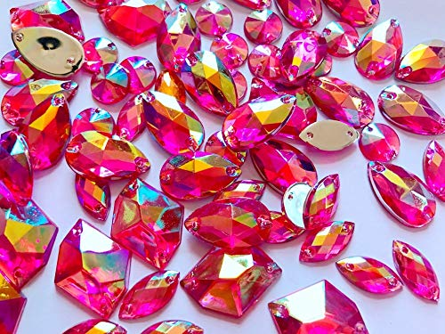 Pukido 300pcs Mixed Shape Size Rose red AB Colour Crystal sew on Rhinestones Acryl Loose Beads Hand Sewing Strass ()