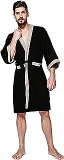 SEMIR Mens Sleepwear Lighweight Cotton Gowns Waffel Pique Kimono Bathrobe Dressing Gown Men