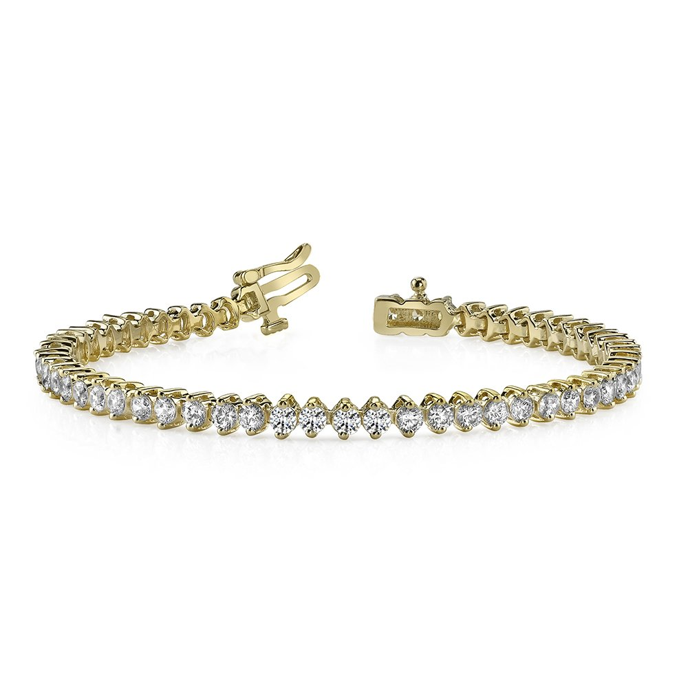 1.50 Ct Round Cut Natural Diamond 14K Yellow Gold Over 2 Prong Tennis Bracelet