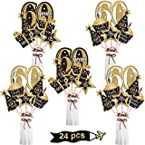 Blulu Birthday Party Decoration Set Golden Birthday Party Centerpiece Sticks Glitter Table Toppers Party Supplies, 24 Pack (60th Birthday)