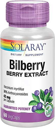 Solaray Bilberry Berry Extract 42 mg Powerful Antioxidant Healthy Vision Circulation Support 60 VegCaps