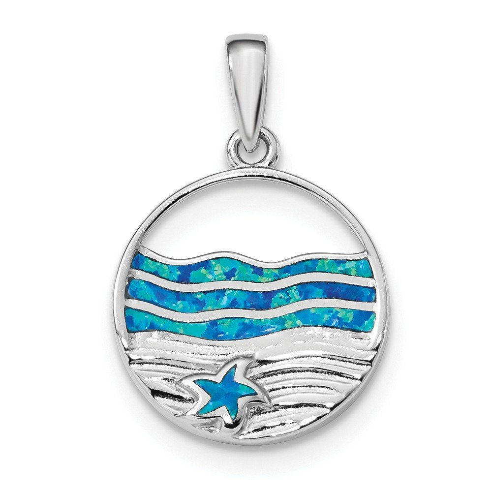 19,7mm Sterling Silber Rhodiniert Blau Simulierte Opal Seestern ocean Anhänger JewelryWeb QTP328433NC