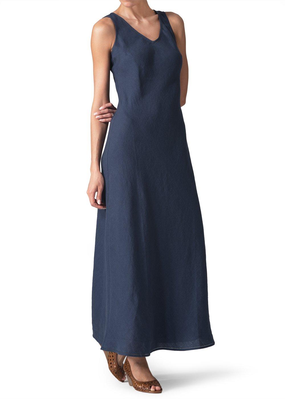 Vivid Linen Bias Cut Sleeveless Long Dress-4X-Denim Blue