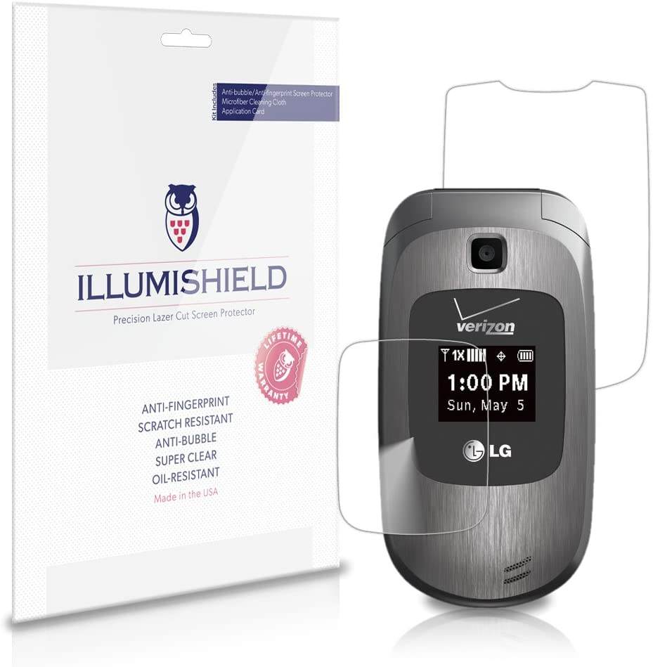 iLLumiShield Screen Protector Compatible with LG Revere 2 (VN150S)(3-Pack) Clear HD Shield Anti-Bubble and Anti-Fingerprint PET Film