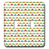 3dRose Anne Marie Baugh - Patterns - Cute and Colorful Mexican Hats On A White Background Pattern - Light Switch Covers - double toggle switch (lsp_295477_2)