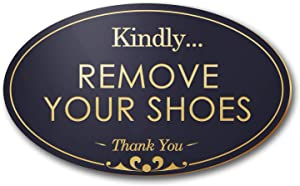 "My Sign Center Kindly Remove Your Shoes Laser Engraved Small Sign - 3""x 5"" - .050 Black/Gold Plastic"