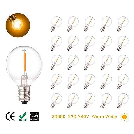 25 Pcs 1W E14 bombillas LED, (equivalente halógeno 7W) blanco cálido, 220V-240V, 360 bombillas LED ...