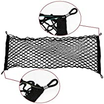 IDEAPRO Car Rear Cargo Net Multipurpose Elastic Bungee Envelope Style Trunk Luggage Cargo Storage Network Organizer Net Auto Interior Storage Mesh with Mounting Screw (35 X 12) (35*12)