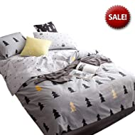 Christmas Trees Kids Comforter Cover Twin Grey Boys Bedding Sets Twin with 2 Pillow Shams Cartoon Teens Duvet Cover Twin for Home Bedding with 4 Corners Ties Super Soft Bedding Set, No Comforter