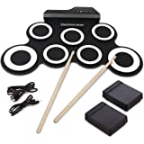 Elektronische Trommel, Hizek tragbar 7 Pads Roll Up E-Drum Kit Faltbare Perkussion Schlagzeug mit 2 Fußped und Drum Sticks für Anfänger und Kinder--schwarz