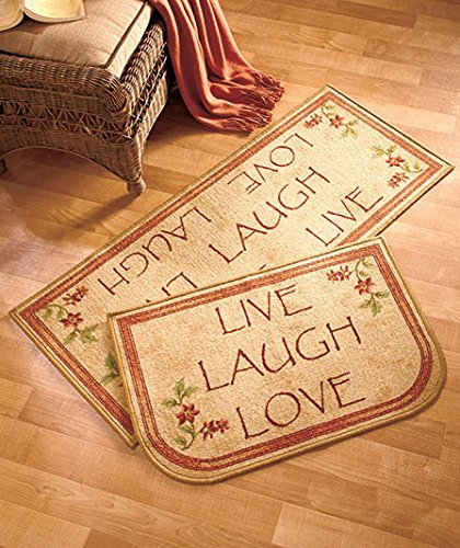 2 Pc Rug Set Live Laugh Love Inspirational Country Accent Ma