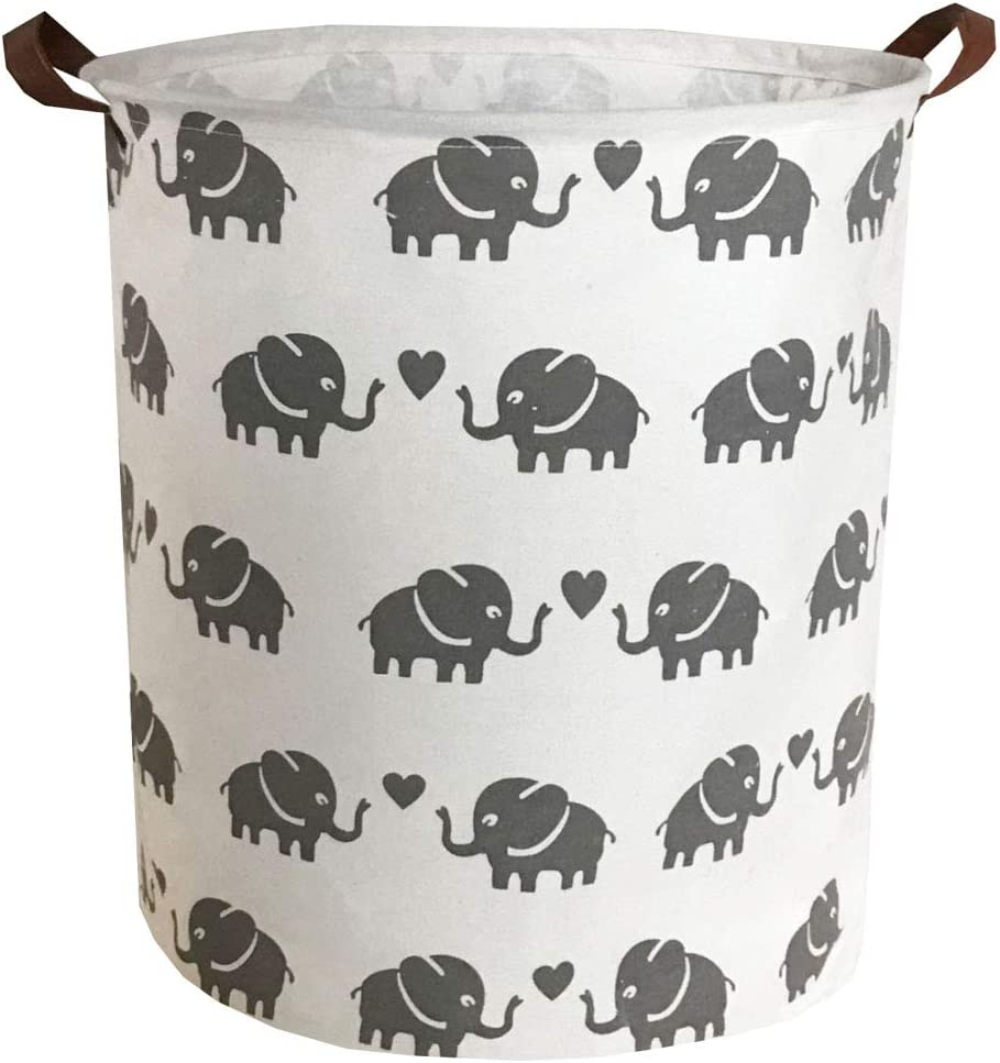 Sanjiaofen Canvas Fabric Storage Bins,Collapsible Laundry Baskets,Waterproof Storage Baskets with Leather Handle,Home Decor,Toy Organizer (Love Elephant)