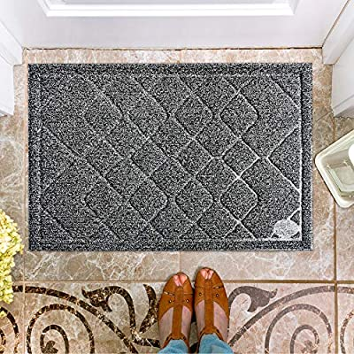 Moonlife Rubber Door mat/Large Outdoor/Indoor Welcome doormat24X35,Good for Front entrance/Patio entry/Garage high traffic areas/Waterproof low profile Non slip rug Mat,Easy Clean Washable all Weather