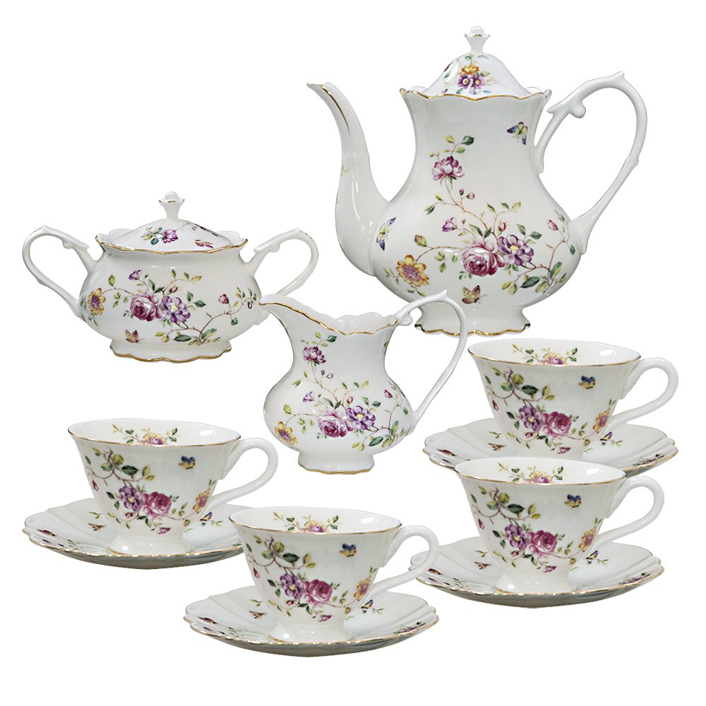 Grace Teaware 11-Piece Porcelain Tea Set Purple Floral
